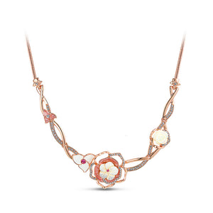 Sweet Plated Rose Golden Rose Necklace with White Austrian Element Crystals