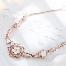 Load image into Gallery viewer, Sweet Plated Rose Golden Rose Necklace with White Austrian Element Crystals