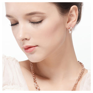 Luxurious Plated Rose Golden Earrings with White Cubic Zircon
