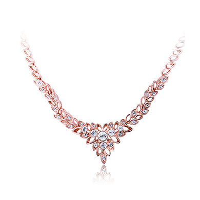 Luxury Plated Rose Golden Necklace with White Cubic Zircon