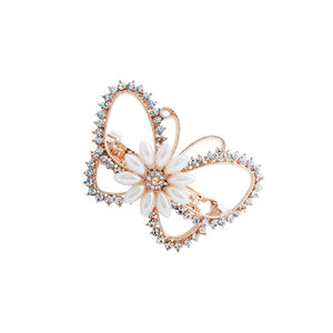 Classic Butterfly Hairpin with White Austrian Element Crystals