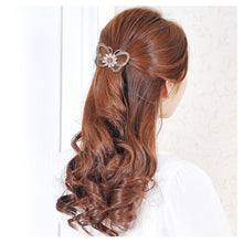 Load image into Gallery viewer, Classic Butterfly Hairpin with White Austrian Element Crystals