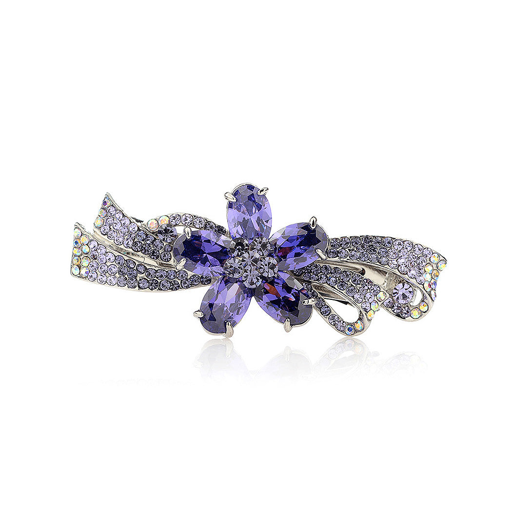 Flower Hairpin with Purple Austrian Element Crystals