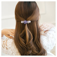 Load image into Gallery viewer, Flower Hairpin with Purple Austrian Element Crystals
