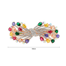 Load image into Gallery viewer, Ribbon Hairpin with Colored Austrian Element Crystals