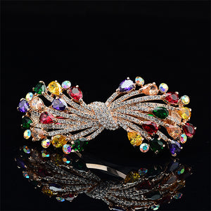 Ribbon Hairpin with Colored Austrian Element Crystals