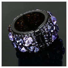 Load image into Gallery viewer, Simple Round Hairpin with Purple Austrian Element Crystals