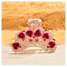 Load image into Gallery viewer, Elegant Rose Hairpin with Red Austrian Element Crystals