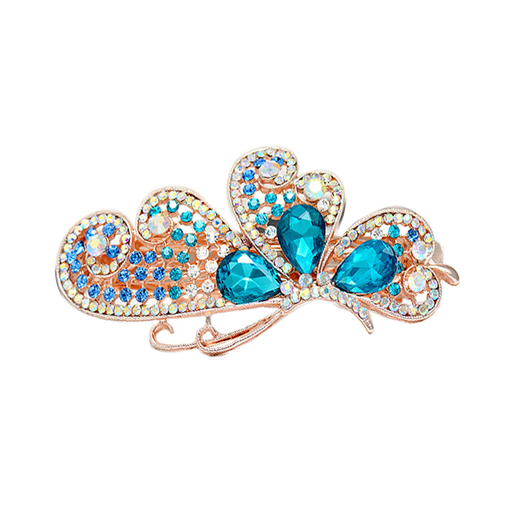 Butterfly Hairpin with Blue Austrian Element Crystals