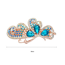 Load image into Gallery viewer, Butterfly Hairpin with Blue Austrian Element Crystals