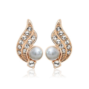Angel Wings Earrings with White Austrian Element Crystals