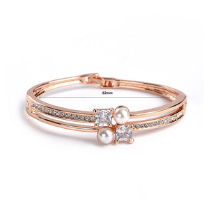 Simple Plated Rose Gold Bangle with White Austrian Element Crystals