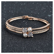 Load image into Gallery viewer, Simple Plated Rose Gold Bangle with White Austrian Element Crystals