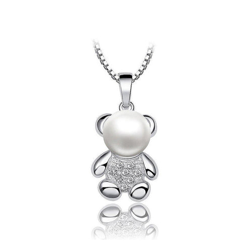 925 Sterling Silver Bear Pendant with  Freshwater Cultured Pearl and Necklace