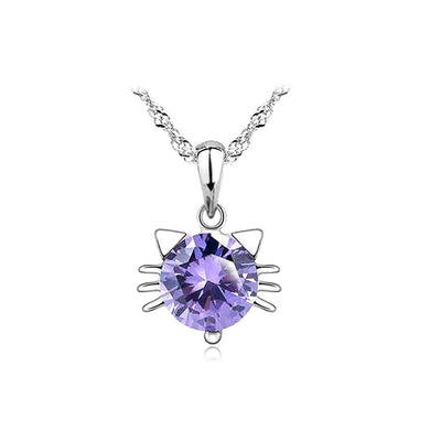 Cute Cat Pendant with Purple Austrian Element Crystal and Necklace