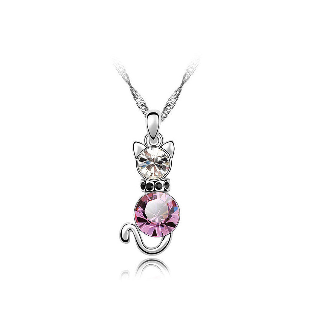 Cute Cat Pendant with Pink Austrian Element Crystal and Necklace