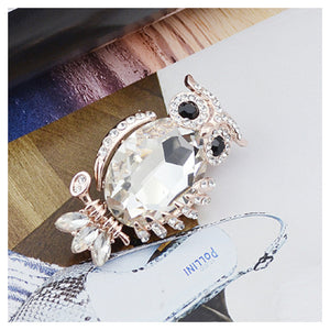 Elegant Owl Brooch with White Austrian Element Crystal