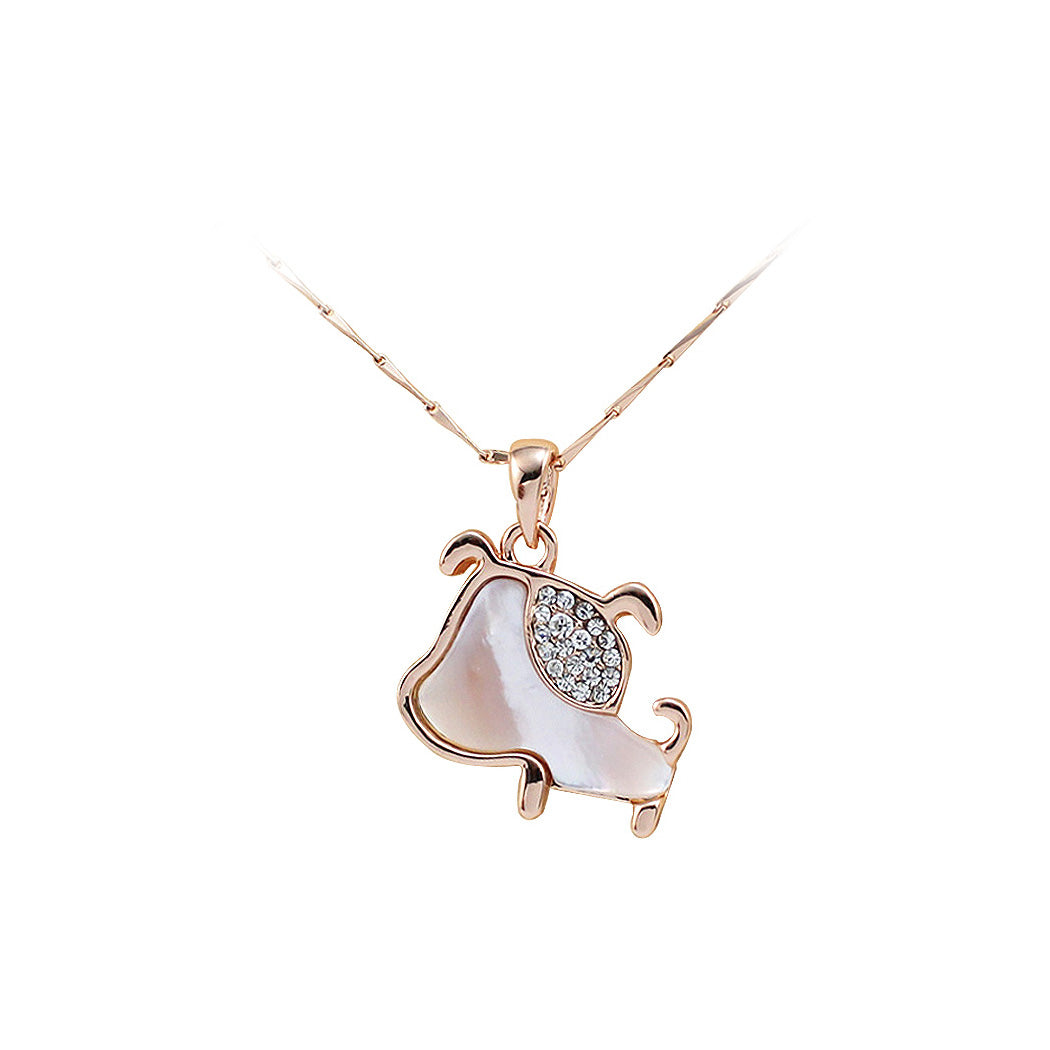 Plated Rose Gold Puppy Pendant with White Austrian Element Crystal and Necklace