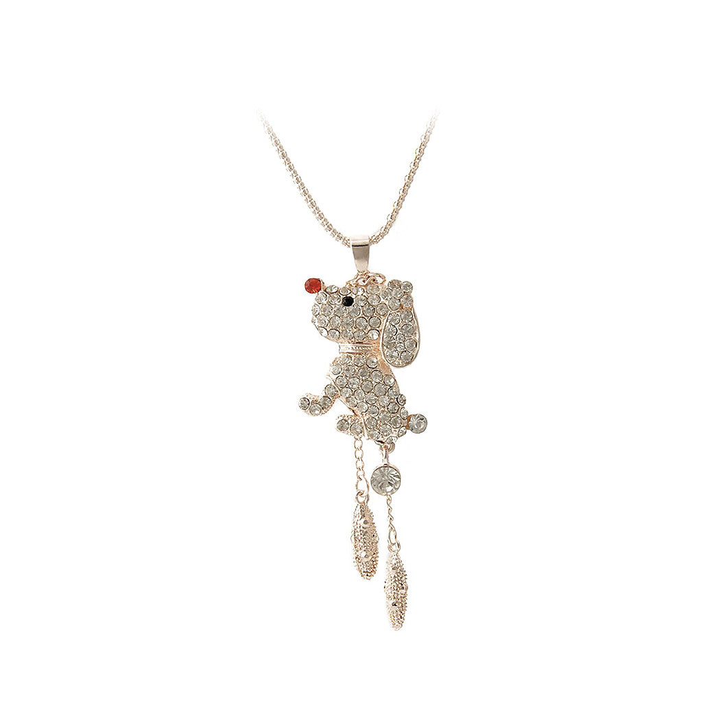 Plated Rose Puppy Pendant with White Austrian Element Crystal and Necklace