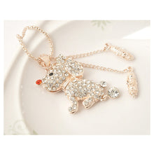 Load image into Gallery viewer, Plated Rose Puppy Pendant with White Austrian Element Crystal and Necklace