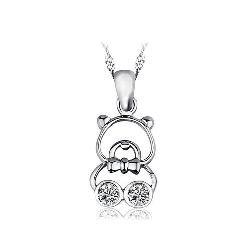 925 Sterling Silver Bear Pendant with Austrian Element Crystal and Necklace