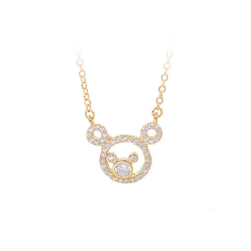 925 Plated Rose Gold Bear Necklace with White Austrian Element Crystal