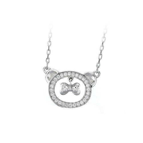 925 Sterling Silver Bear Necklace with White Austrian Element Crystal