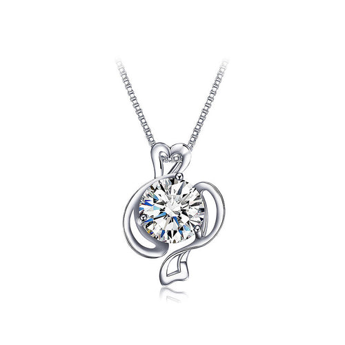 925 Sterling Silver Twelve Horoscope Pisces Pendant with White Cubic Zircon and Necklace