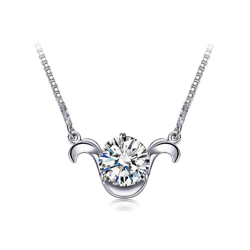 925 Sterling Silver Twelve Horoscope Aries Necklace with White Cubic Zircon