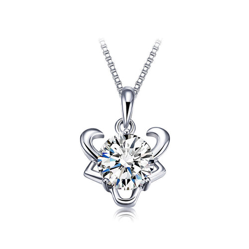 925 Sterling Silver Twelve Horoscope Taurus Pendant with White Cubic Zircon and Necklace