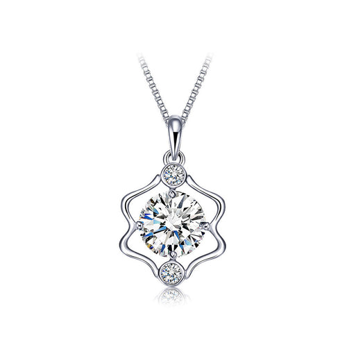 925 Sterling Silver Twelve Horoscope Gemini Pendant with White Cubic Zircon and Necklace