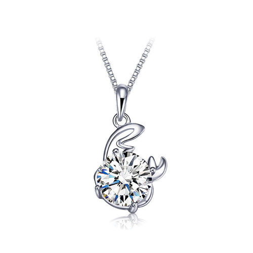 925 Sterling Silver Twelve Horoscope Cancer Pendant with White Cubic Zircon and Necklace