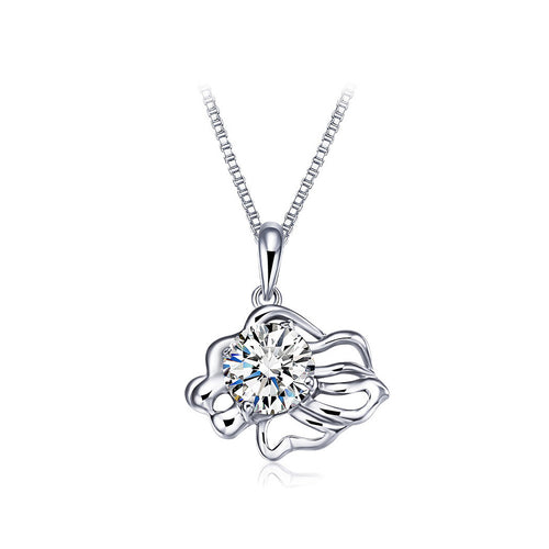 925 Sterling Silver Twelve Horoscope Leo Pendant with White Cubic Zircon and Necklace