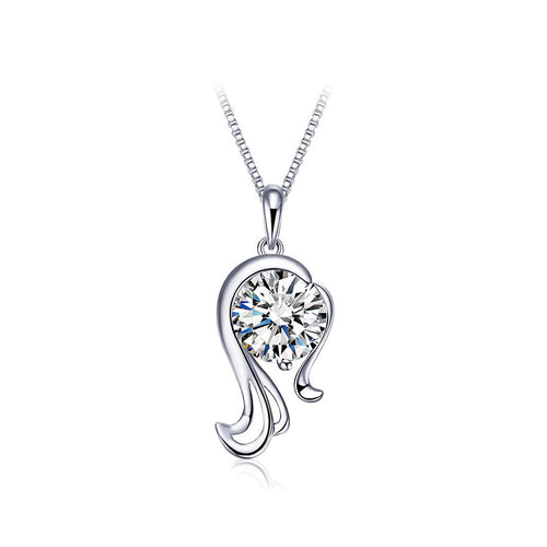 925 Sterling Silver Twelve Horoscope Virgo Pendant with White Cubic Zircon and Necklace