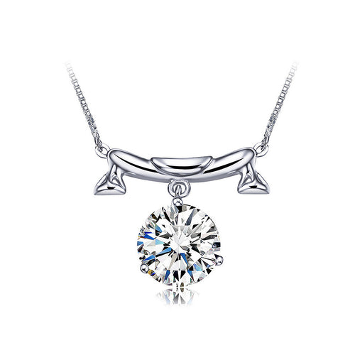 925 Sterling Silver Twelve Horoscope Libra Necklace with White Cubic Zircon