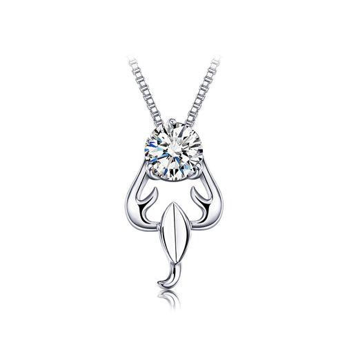 925 Sterling Silver Twelve Horoscope Scorpio Pendant with White Cubic Zircon and Necklace