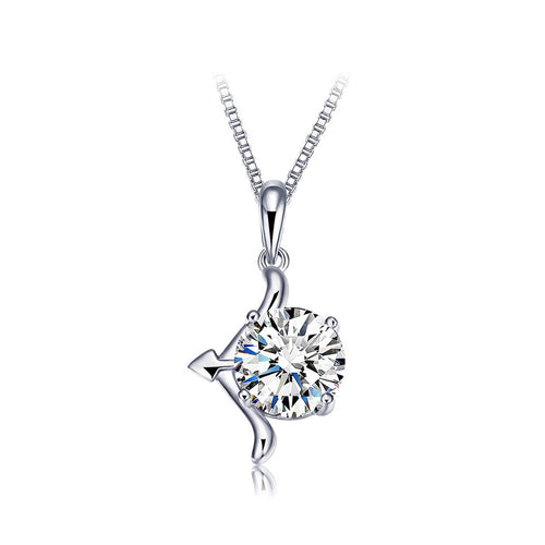 925 Sterling Silver Twelve Horoscope Sagittarius Pendant with Cubic Zircon and Necklace