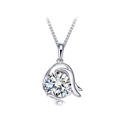 925 Sterling Silver Twelve Horoscope Capricorn Pendant with Cubic Zircon and Necklace