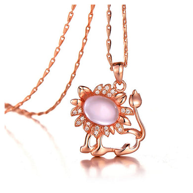 Plated Rose Gold Twelve Horoscope Leo Pendant with White Cubic Zircon and Necklace