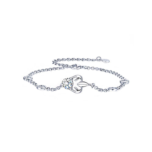 925 Sterling Silver Twelve Horoscope Scorpio Bracelet with White Cubic Zircon
