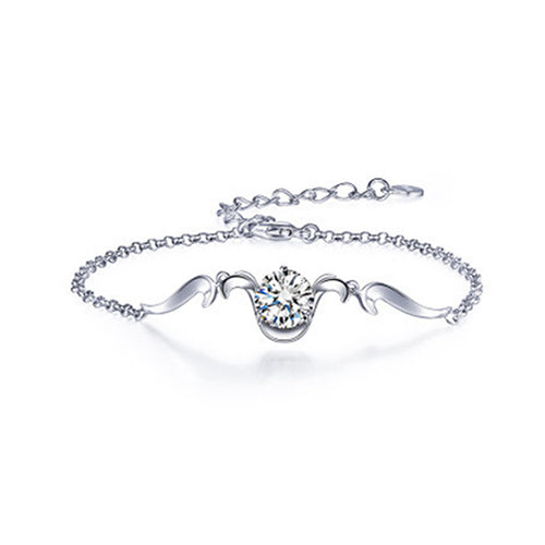925 Sterling Silver Twelve Horoscope Aries Bracelet with White Cubic Zircon