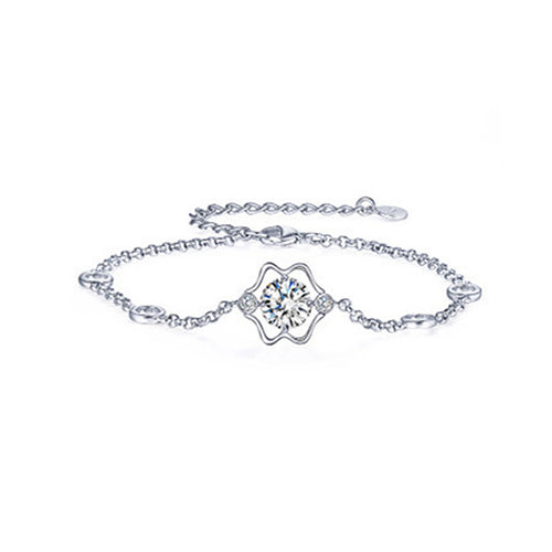 925 Sterling Silver Twelve Horoscope Gemini Bracelet with White Cubic Zircon