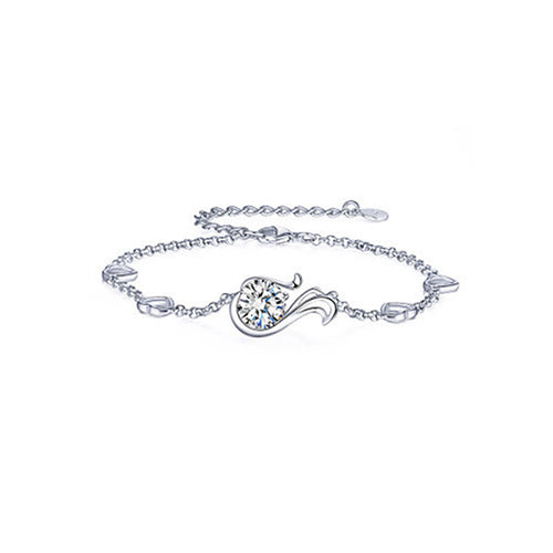 925 Sterling Silver Twelve Horoscope Virgo Bracelet with White Cubic Zircon