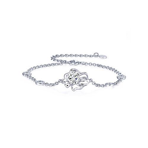 925 Sterling Silver Twelve Horoscope Leo Bracelet with White Cubic Zircon