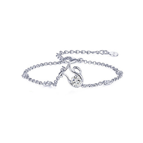 925 Sterling Silver Twelve Horoscope Aquarius Bracelet with White Cubic Zircon