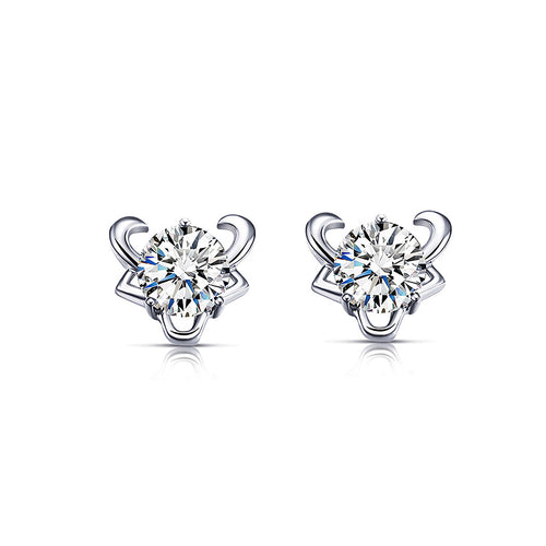 925 Sterling Silver Twelve Horoscope Taurus Stud Earrings with White Cubic Zircon