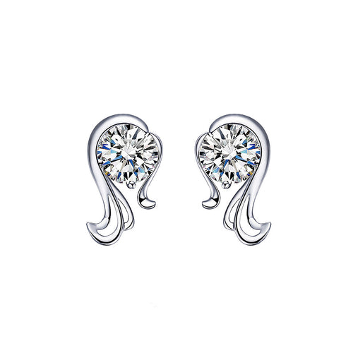925 Sterling Silver Twelve Horoscope Virgo Stud Earrings with White Cubic Zircon
