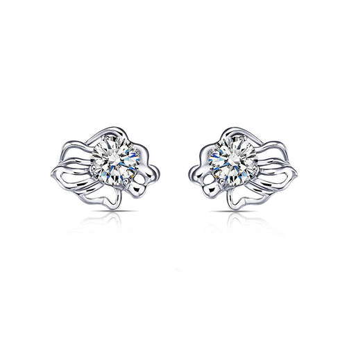 925 Sterling Silver Twelve Horoscope Leo Stud Earrings with White Cubic Zircon