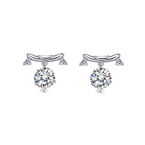 925 Sterling Silver Twelve Horoscope Libra Stud Earrings with White Cubic Zircon
