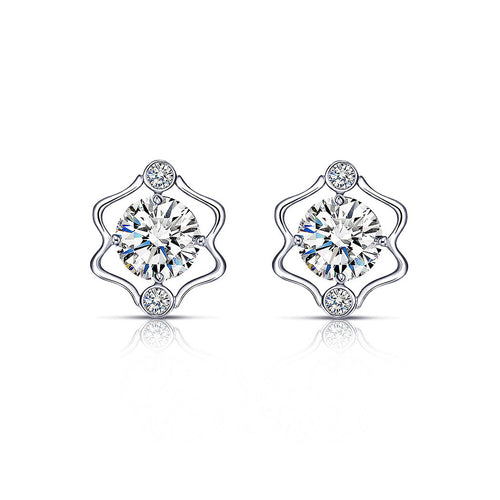925 Sterling Silver Twelve Horoscope Gemini Stud Earrings with White Cubic Zircon